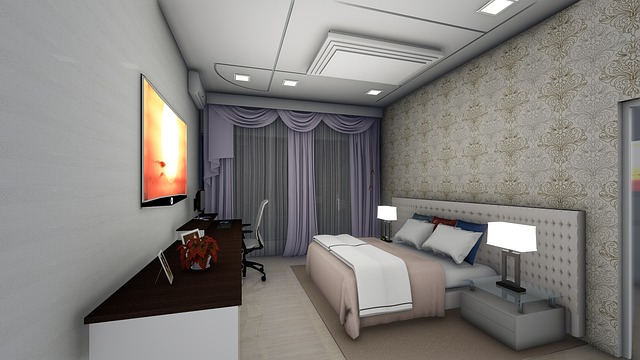 světlý interiér, ložnice, pracovna